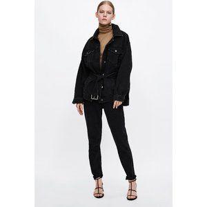 Zara Z1975 Oversized Black Denim Jacket w Belt